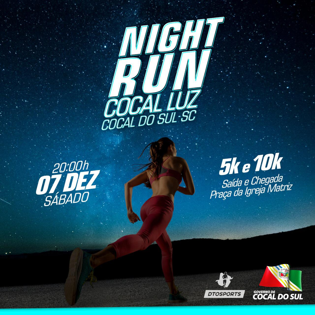 Night Run Cocal Luz: corrida irá unir esporte com a magia no Natal