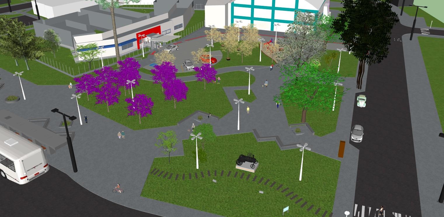 Nova iluminação e arborização na Praça da Chaminé